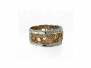 14K Wide Diamond Band with Cut Outs 2