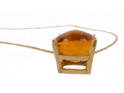 14K Cushion Citrine Pendant 2