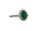 18K Oval Emerald Ring with Diamond Halo 2