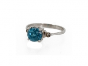 14K Oval Blue Zircon Ring 2