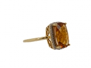 14K Emerald cut Citrine Ring 2