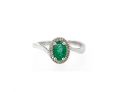 14K Swirl Ring with Oval Emerald and Diamond Halo 2