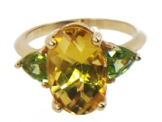 14K Beryl and Peridot Custom Ring 2