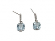 14K Cushion Cut Aquamarine Dangle Earrings 2