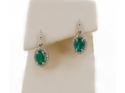 14K Oval Emerald Diamond Halo Earrings 2