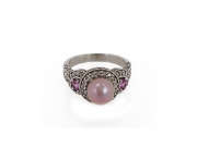 14K Concho Pearl & Pink Sapphire Ring 2