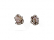 14K Large Textured Baroque Concho Pearl Earrings 4