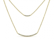 14K Double Diamond Bar Necklace 2