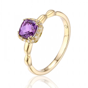 14K Cushion Cut Amethyst Ring 2
