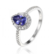 14K Tanzanite Pear Shape Halo Ring 2