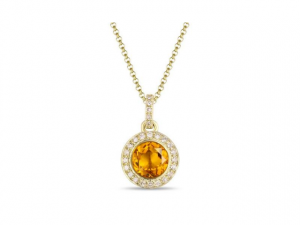 14K Citrine Halo Necklace
