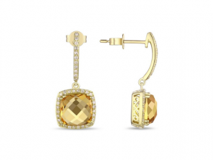 14K Citrine and Diamond Earrings
