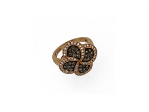 14K Swirl and Flower Design Ring