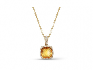 14K Citrine and Diamond Necklace