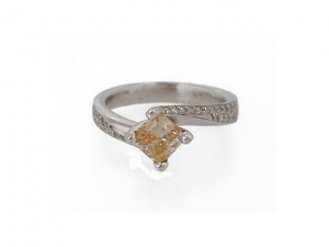 14K Diamond Swirl Ring with Champagne Princess Center