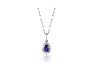 14K Tanzanite Pear Shape Halo Necklace
