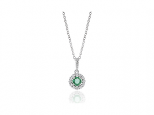 14K Emerald and Diamond Halo Necklace