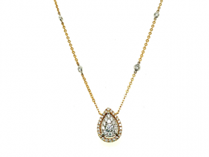 14K Pear Shape Cluster Necklace