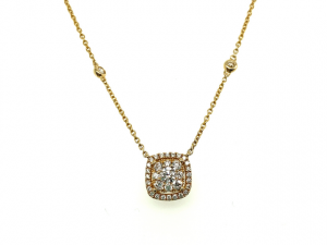 14K Square Shape Cluster Necklace