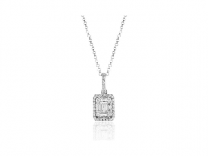 14K Baguette Diamond Necklace