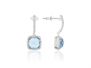 14K Blue Topaz Dangle Earrings