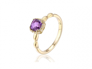 14K Cushion Cut Amethyst Ring