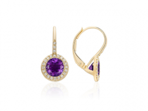 14K Amethyst Leverback Earrings