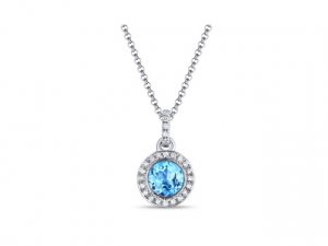 14K Blue Topaz Necklace