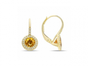 14K Citrine Halo Earrings