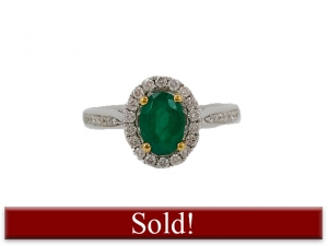 18K Oval Emerald Ring with Diamond Halo