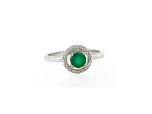 14K Classic Emerald Ring with Diamond Halo