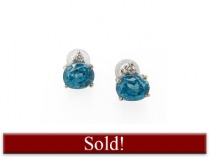 14K Oval Blue Zircon Stud Earrings