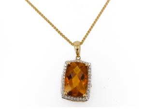 14K Emerald cut Citrine Pendant