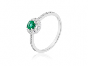 14K Emerald Ring With Diamond Halo