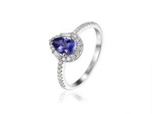 14K Tanzanite Pear Shape Halo Ring