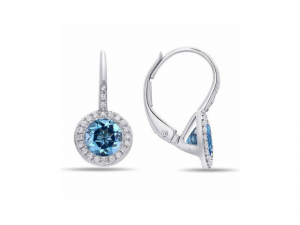 14K Blue Topaz Halo Earrings