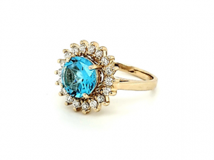 14K Lone Star Cut Blue Topaz and Diamond Ring