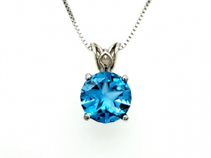 14K Lone Star Cut Blue Topaz Scroll Pendant