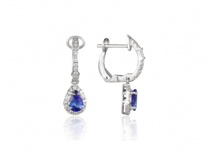 14K Tanzanite Pear Shape Halo Earrings