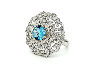 18W Lone Star Cut Blue Topaz Dinner Ring