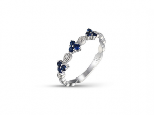 14K Sapphire & Diamond Stackable Ring