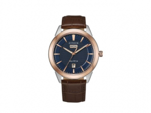 Vintage Rose Gold Tone Corso on Leather Strap