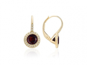 14K Garnet Leverback Earrings