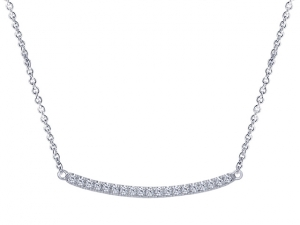 14K Curved Diamond Bar Necklace