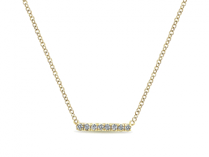 14K Straight Diamond Bar Necklace