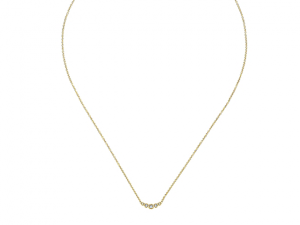 14K Circle Diamond Bar Necklace