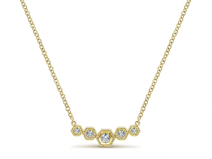 14K Hexagon Diamond Bar Necklace