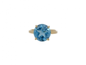 14K Lone Star Cut Blue Topaz Scroll Ring
