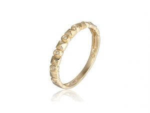14K Stackable Diamond Band with Square Accents
