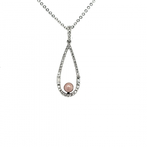 14KW Concho Pearl and Diamond Teardrop Pendant